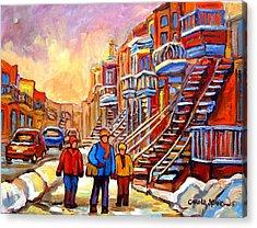 Debullion Street Winter Walk Acrylic Print by Carole Spandau
