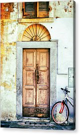 Decayed Door And Bicycle Acrylic Print by Silvia Ganora