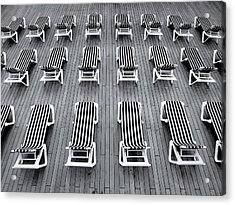 Deck Chairs Acrylic Print by Michel Le