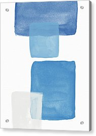 Deconstructed Blue Gingham 1- Art By Linda Woods Acrylic Print by Linda Woods