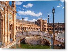 Decorative Bridge In Architectural Complex Of Plaza De Espana Acrylic Print by Jenny Rainbow