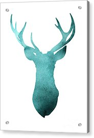 Deer Head Watercolor Giclee Print Acrylic Print by Joanna Szmerdt
