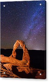 Delicate Arch And Milky Way Acrylic Print by Matthew Crowley Photography