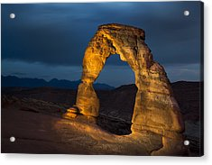 Delicate Arch At Night Acrylic Print by Adam Romanowicz
