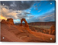 Delicate Arch Sunset Acrylic Print by Jeff Clay