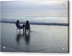 Denmark, Romo, Two Young Women Relaxing Acrylic Print by Keenpress