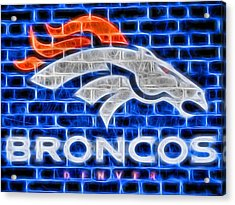 Denver Broncos Electric Sign Acrylic Print by Dan Sproul