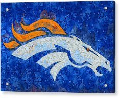 Denver Broncos Painted Logo Acrylic Print by Dan Sproul