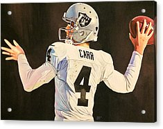Derek Carr Oakland Raiders  Acrylic Print by Michael  Pattison