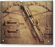 Design For A Giant Crossbow Acrylic Print by Leonardo Da Vinci