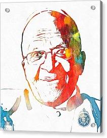 Desmond Tutu Watercolor Acrylic Print by Dan Sproul