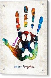Custom Dog Memorial Rainbow Bridge Paw Print By Sharon Cummings Acrylic Print by Sharon Cummings