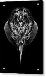 Destiny's Vision Fractal Fantasy Portrait Acrylic Print by Xzendor7
