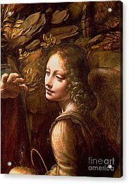 Detail Of The Angel From The Virgin Of The Rocks  Acrylic Print by Leonardo Da Vinci