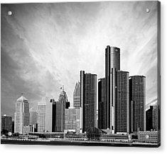 Detroit Black And White Skyline Acrylic Print by Alanna Pfeffer
