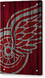 Detroit Red Wings Wood Fence Acrylic Print by Joe Hamilton