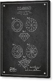 Diamond Patent From 1902 - Charcoal Acrylic Print by Aged Pixel