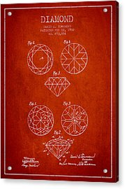 Diamond Patent From 1902 - Red Acrylic Print by Aged Pixel