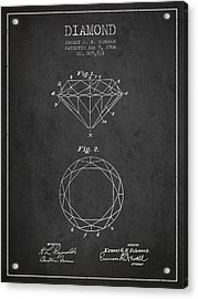 Diamond Patent From 1906 - Charcoal Acrylic Print by Aged Pixel