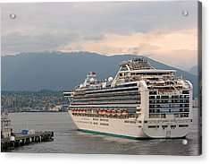 Diamond Princess Leaving Vancouver British Columbia Canada Acrylic Print by Christine Till