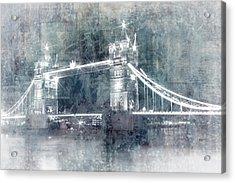 Digital-art Tower Bridge By Night I Acrylic Print by Melanie Viola