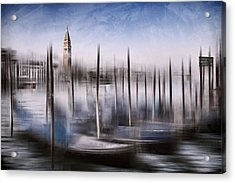 Digital-art Venice Grand Canal And St Mark's Campanile Acrylic Print by Melanie Viola