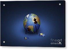 Digitally Generated Image Of The Earth Acrylic Print by Vlad Gerasimov