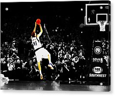 Dirk Nowitzki Fade Away Jumper Acrylic Print by Brian Reaves