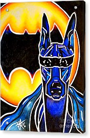 Doberman Superhero Bat Acrylic Print by Jackie Carpenter