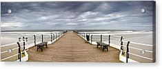 Dock With Benches, Saltburn, England Acrylic Print by John Short