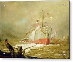 Docking A Cargo Ship Acrylic Print by William Lionel Wyllie