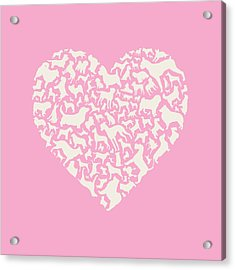 Dog Valentine Acrylic Print by Mitch Frey