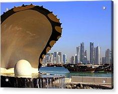 Doha Fountain Skyline And Harbour Acrylic Print by Paul Cowan