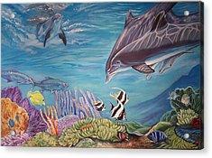 Dolphin Pod Acrylic Print by Diann Baggett