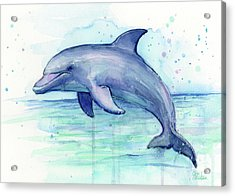 Dolphin Watercolor Acrylic Print by Olga Shvartsur