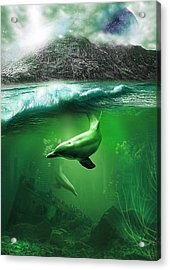 Dolphins Acrylic Print by Svetlana Sewell