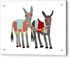 Donkeys Acrylic Print by Isoebl Barber