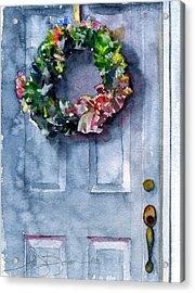 Door Wreath Acrylic Print by John D Benson