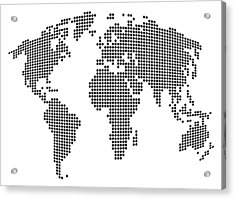 Dot Map Of The World - Black And White Acrylic Print by Michael Tompsett