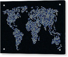Dot Map Of The World - Blue Acrylic Print by Michael Tompsett