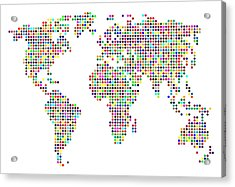 Dot Map Of The World - Colour On White Acrylic Print by Michael Tompsett