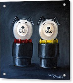 Double Dog Dare Acrylic Print by Cindy Cradler