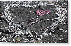Double Heart On The Beach Acrylic Print by John Rizzuto