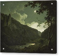 Dovedale By Moonlight Acrylic Print by Joseph Wright of Derby