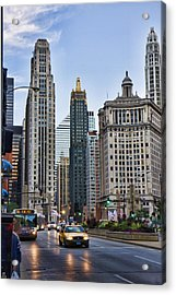Downtown Chicago Traffic Acrylic Print by Paul Bartoszek
