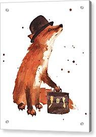 Downtown Fox Acrylic Print by Alison Fennell