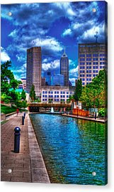 Downtown Indianapolis Canal Acrylic Print by David Haskett