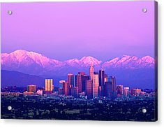 Downtown Los Angeles In Winter Acrylic Print by Andrew Kennelly
