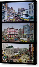 Downtown Portsmouth 1948 Acrylic Print by Frank Hunter