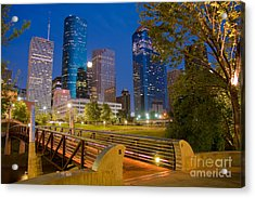 Dowtown Houston By Night Acrylic Print by Olivier Steiner